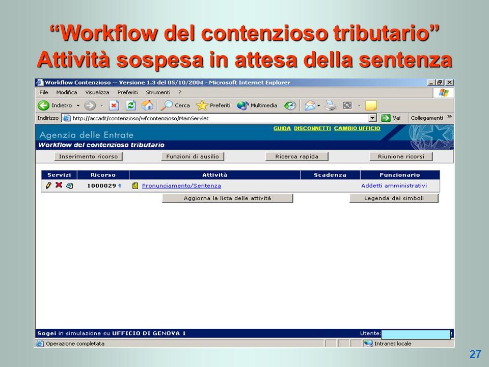 Workflow del contenzioso tributario Attività sospesa in attesa della sentenza 27