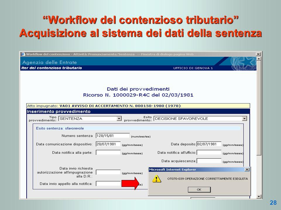Workflow del contenzioso tributario Acquisizione al sistema dei dati della sentenza 28