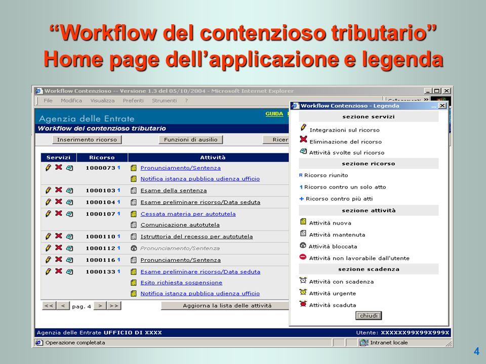 Workflow del contenzioso tributario Home page dellapplicazione e legenda 4