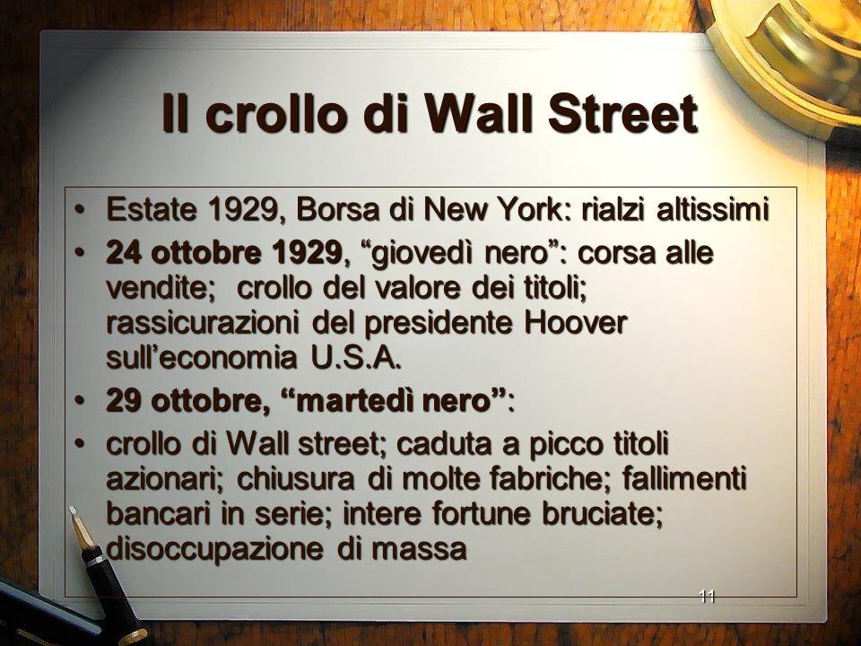 11 Il crollo di Wall Street Estate 1929, Borsa di New York: rialzi altissimiEstate 1929, Borsa di New York: rialzi altissimi 24 ottobre 1929, giovedì