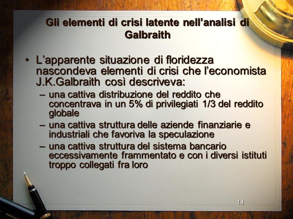 14 Gli elementi di crisi latente nellanalisi di Galbraith Lapparente situazione di floridezza nascondeva elementi di crisi che leconomista J.K.Galbrai