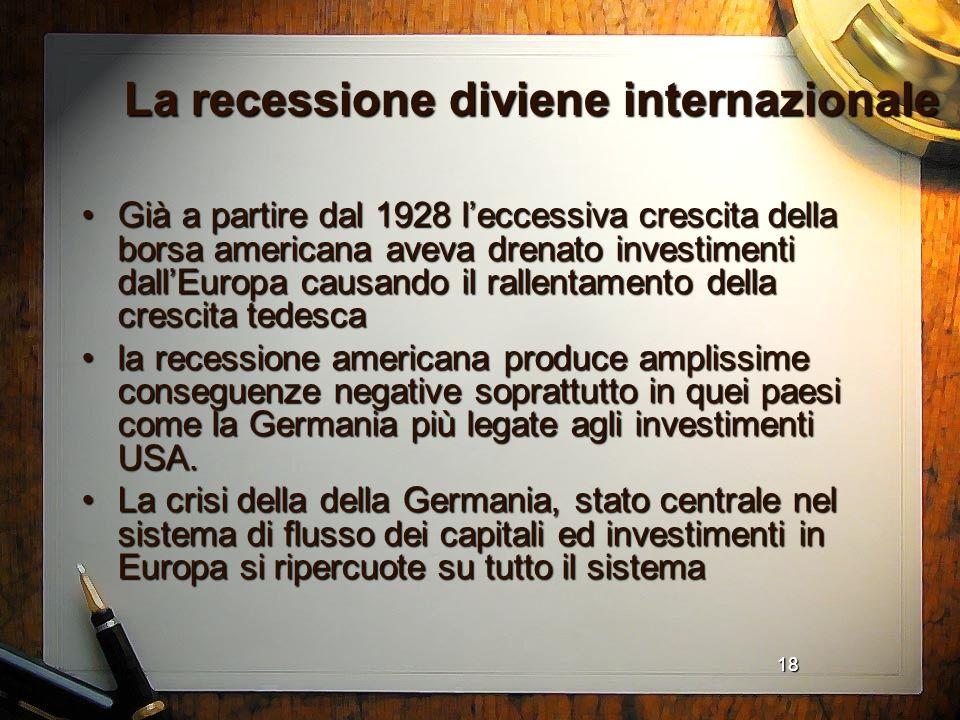 18 La recessione diviene internazionale Già a partire dal 1928 leccessiva crescita della borsa americana aveva drenato investimenti dallEuropa causand