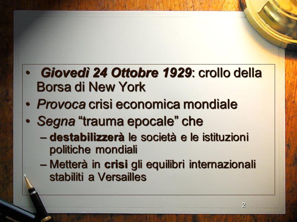 2 Giovedì 24 Ottobre 1929: crollo della Borsa di New York Giovedì 24 Ottobre 1929: crollo della Borsa di New York Provoca crisi economica mondialeProv