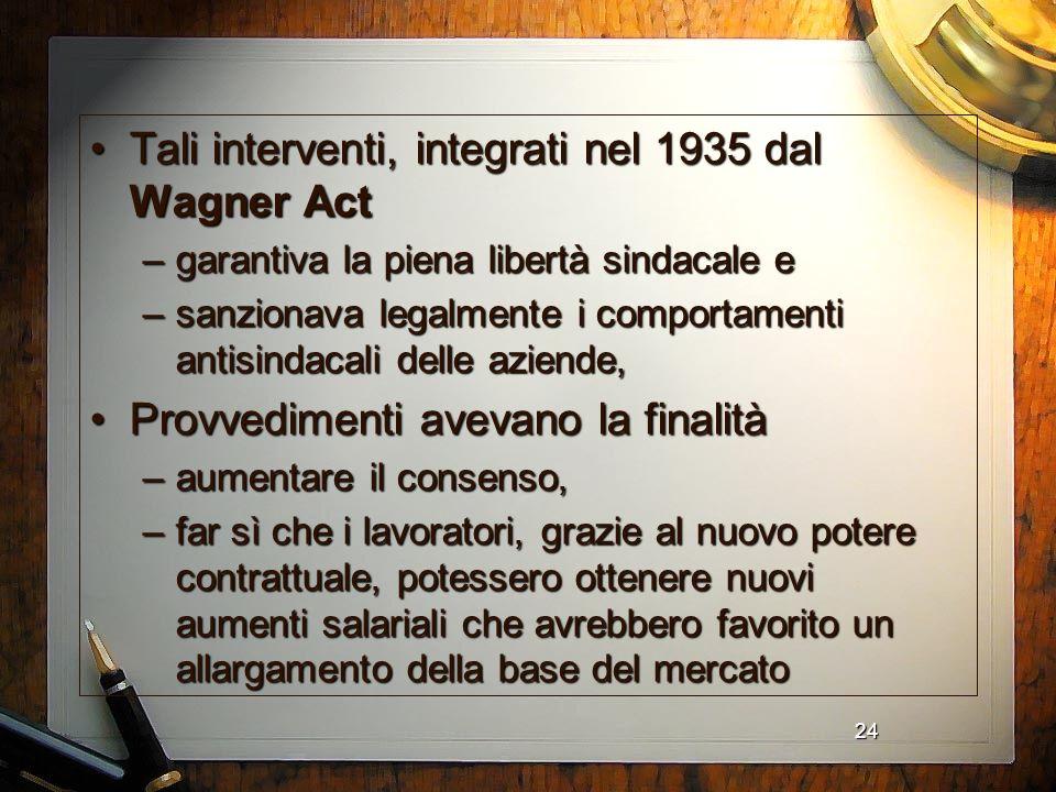 24 Tali interventi, integrati nel 1935 dal Wagner ActTali interventi, integrati nel 1935 dal Wagner Act –garantiva la piena libertà sindacale e –sanzi