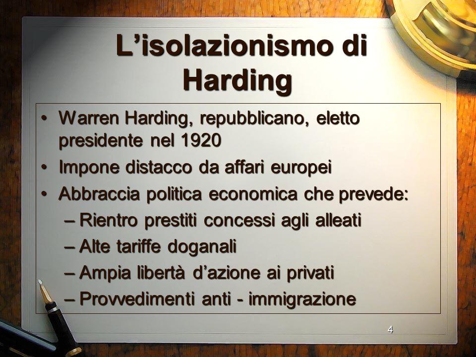4 Lisolazionismo di Harding Lisolazionismo di Harding Warren Harding, repubblicano, eletto presidente nel 1920Warren Harding, repubblicano, eletto pre