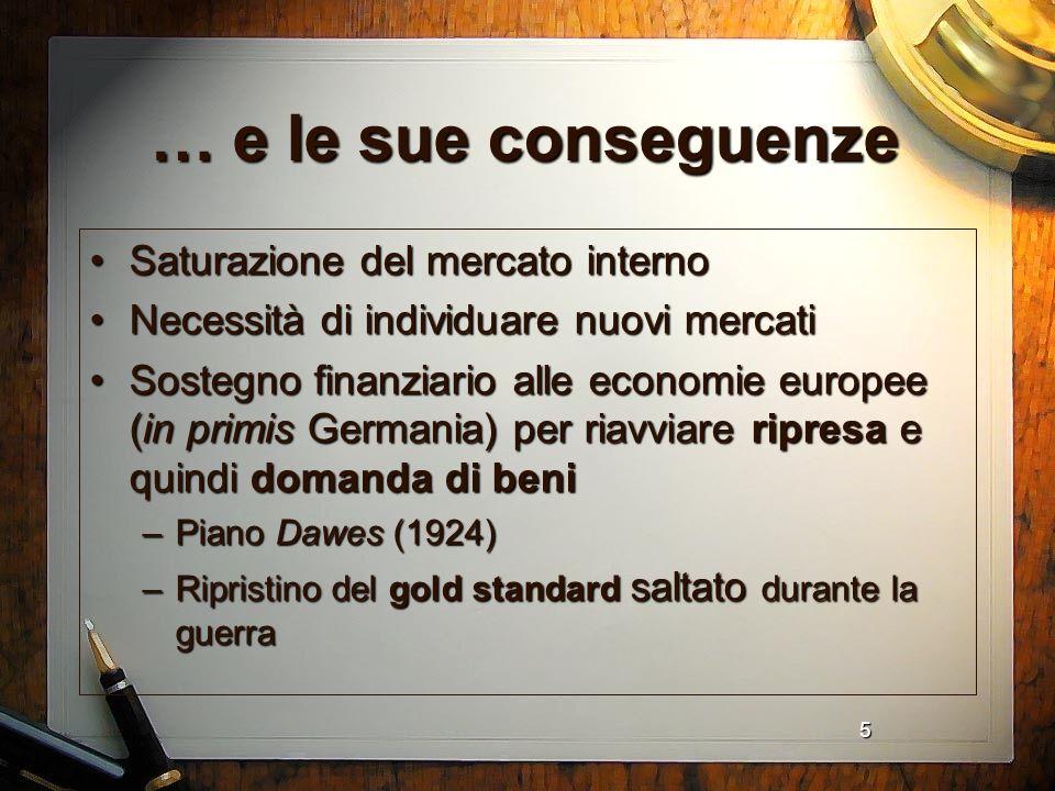 5 … e le sue conseguenze Saturazione del mercato internoSaturazione del mercato interno Necessità di individuare nuovi mercatiNecessità di individuare