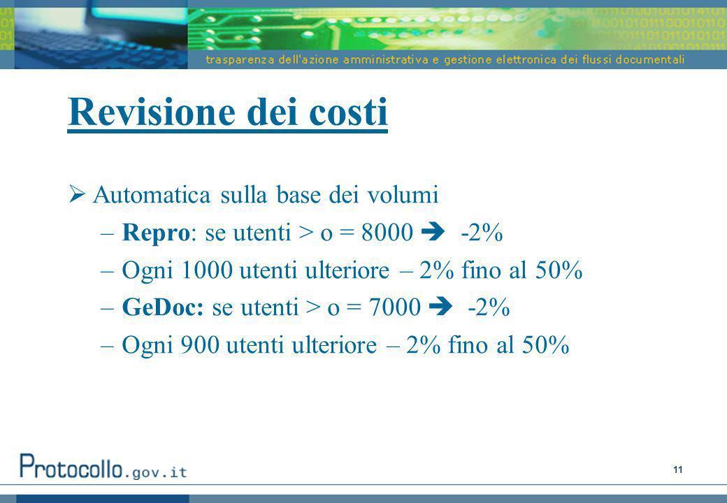 11 Revisione dei costi Automatica sulla base dei volumi –Repro: se utenti > o = 8000 -2% –Ogni 1000 utenti ulteriore – 2% fino al 50% –GeDoc: se utenti > o = 7000 -2% –Ogni 900 utenti ulteriore – 2% fino al 50%