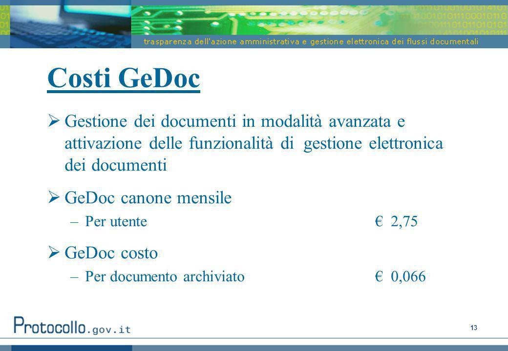 13 Costi GeDoc Gestione dei documenti in modalità avanzata e attivazione delle funzionalità di gestione elettronica dei documenti GeDoc canone mensile –Per utente 2,75 GeDoc costo –Per documento archiviato 0,066