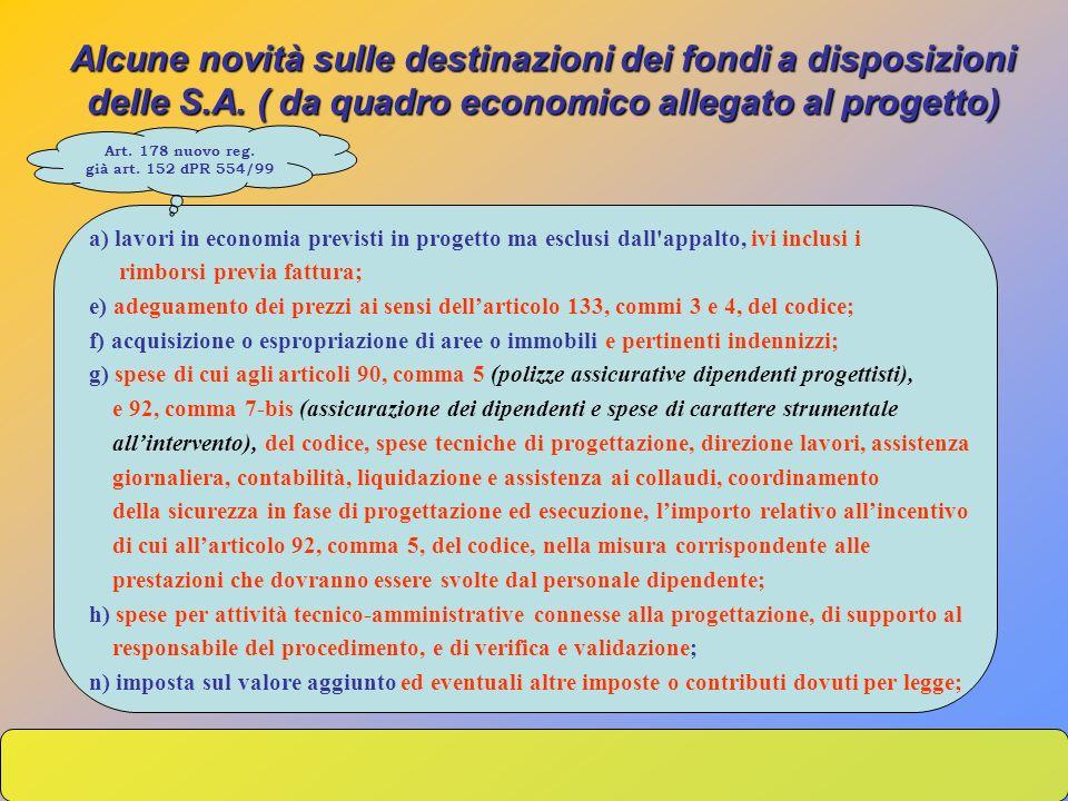 a) lavori in economia previsti in progetto ma esclusi dall'appalto, ivi inclusi i rimborsi previa fattura; e) adeguamento dei prezzi ai sensi dellarti