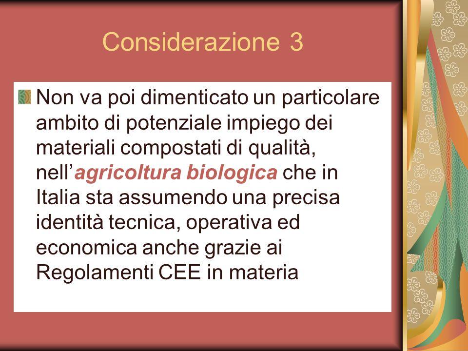 Considerazione 3 Non va poi dimenticato un particolare ambito di potenziale impiego dei materiali compostati di qualità, nellagricoltura biologica che