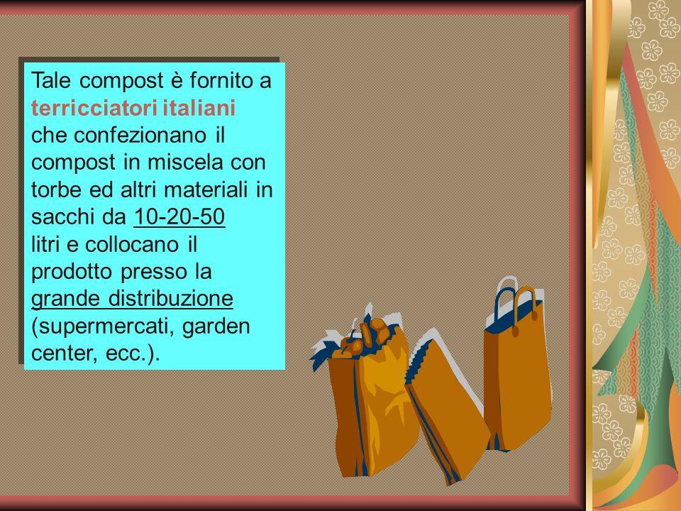 Tale compost è fornito a terricciatori italiani che confezionano il compost in miscela con torbe ed altri materiali in sacchi da 10-20-50 litri e coll