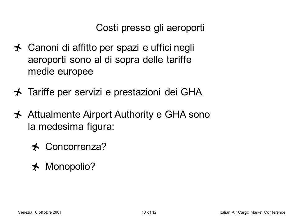 9 of 12Venezia, 6 ottobre 2001Italian Air Cargo Market Conference La spedizione deve essere consegnata completa e munita di awb entro i tempi limite d