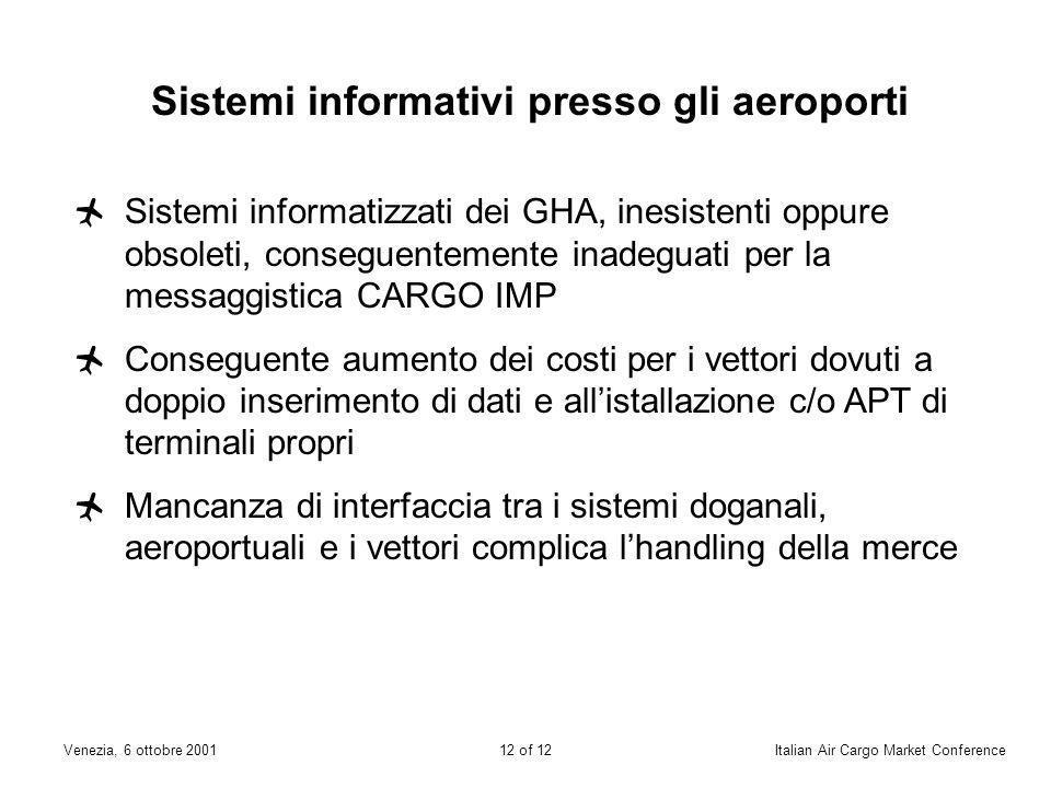 11 of 12Venezia, 6 ottobre 2001Italian Air Cargo Market Conference Dogana Difformità di interpretazione e di applicazione delle normative e delle legg