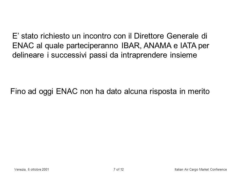 6 of 12Venezia, 6 ottobre 2001Italian Air Cargo Market Conference 4Verifica ed accertamento dei programmi svolti dai centri di addestramento 5Mancanza