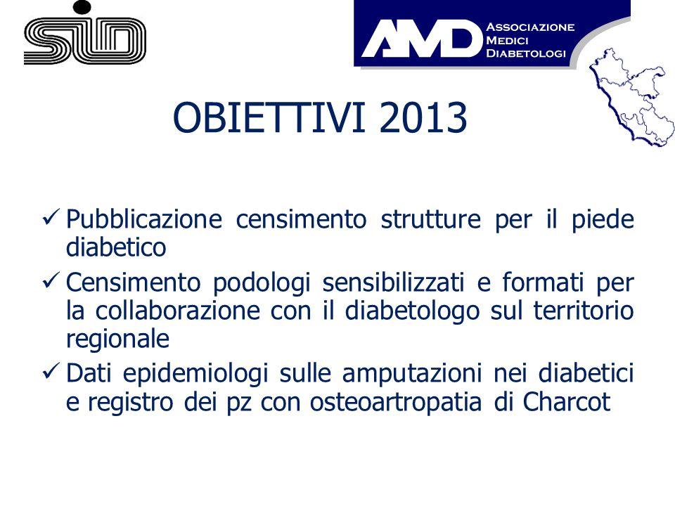 OBIETTIVI 2013 Pubblicazione censimento strutture per il piede diabetico Censimento podologi sensibilizzati e formati per la collaborazione con il dia