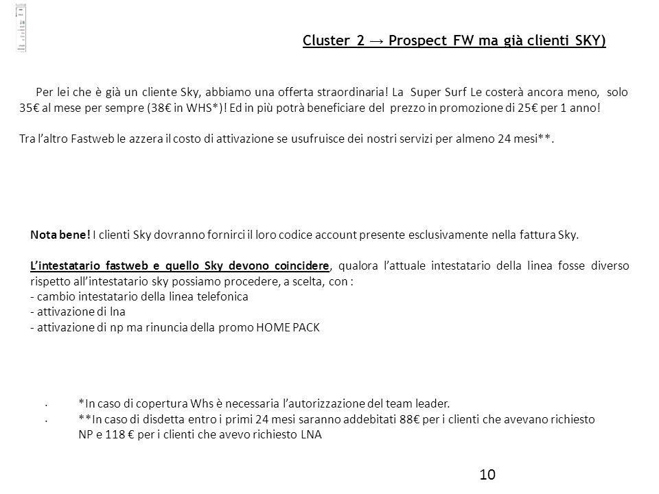 10 Cluster 2 Prospect FW ma già clienti SKY) Per lei che è già un cliente Sky, abbiamo una offerta straordinaria! La Super Surf Le costerà ancora meno
