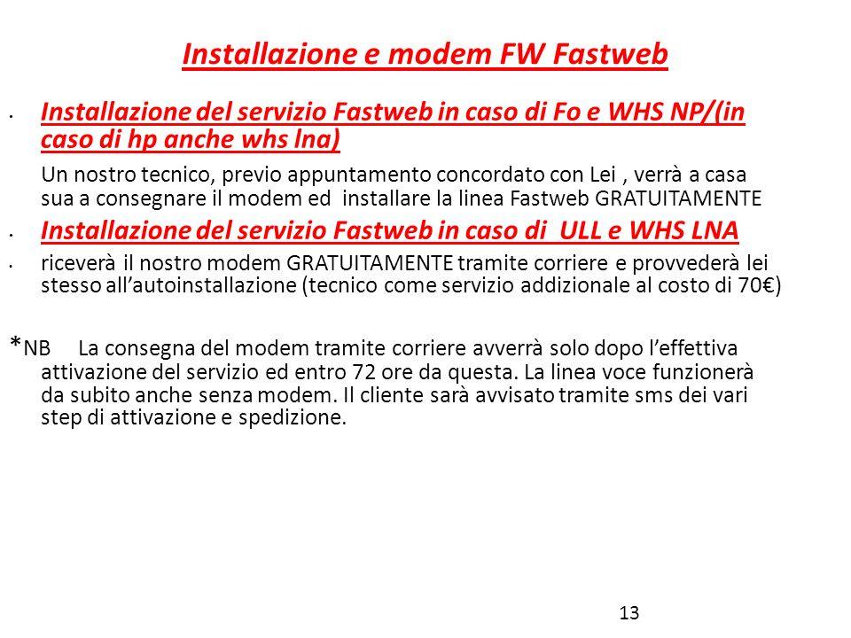Installazione e modem FW Fastweb 13 Installazione del servizio Fastweb in caso di Fo e WHS NP/(in caso di hp anche whs lna) Un nostro tecnico, previo