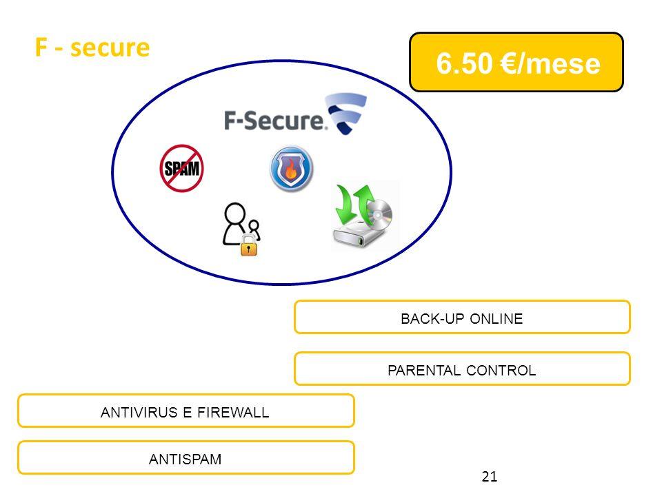 F - secure ANTIVIRUS E FIREWALL ANTISPAM PARENTAL CONTROL BACK-UP ONLINE 6.50 /mese F-Secure 21