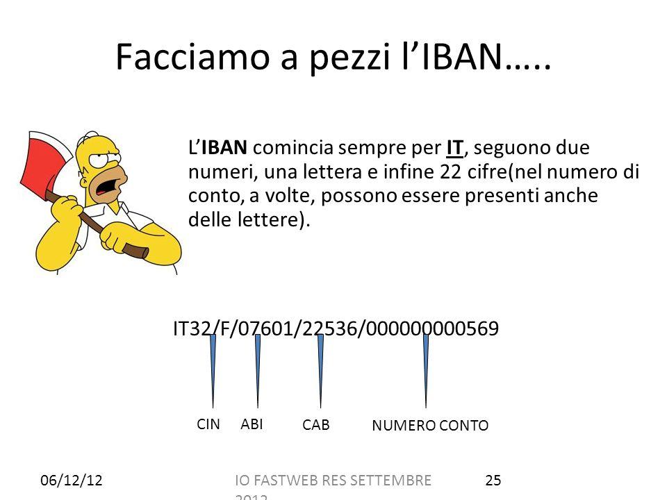 Facciamo a pezzi lIBAN….. LIBAN comincia sempre per IT, seguono due numeri, una lettera e infine 22 cifre(nel numero di conto, a volte, possono essere