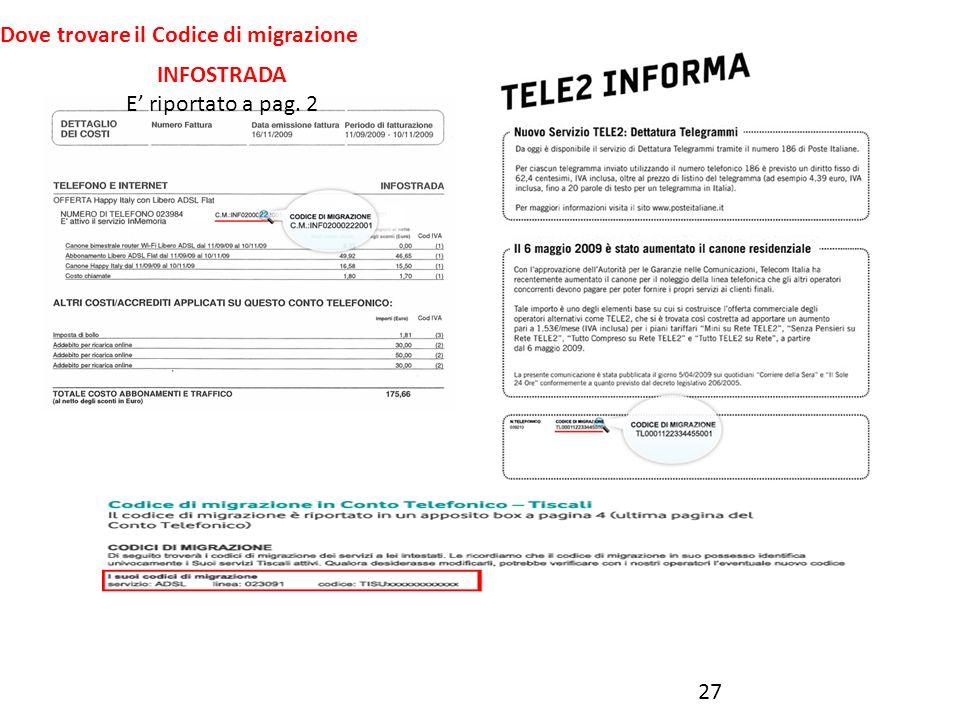 27 Dove trovare il Codice di migrazione 27 INFOSTRADA E riportato a pag. 2