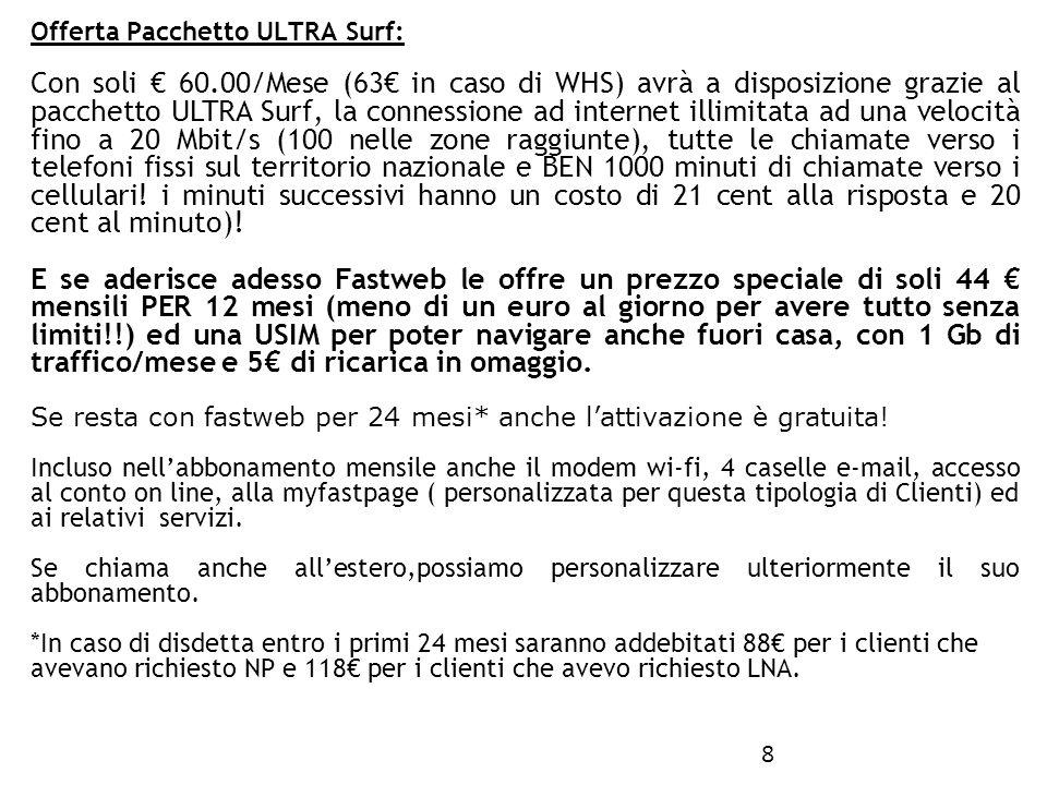 Offerta Pacchetto ULTRA Surf: 8 Con soli 60.00/Mese (63 in caso di WHS) avrà a disposizione grazie al pacchetto ULTRA Surf, la connessione ad internet