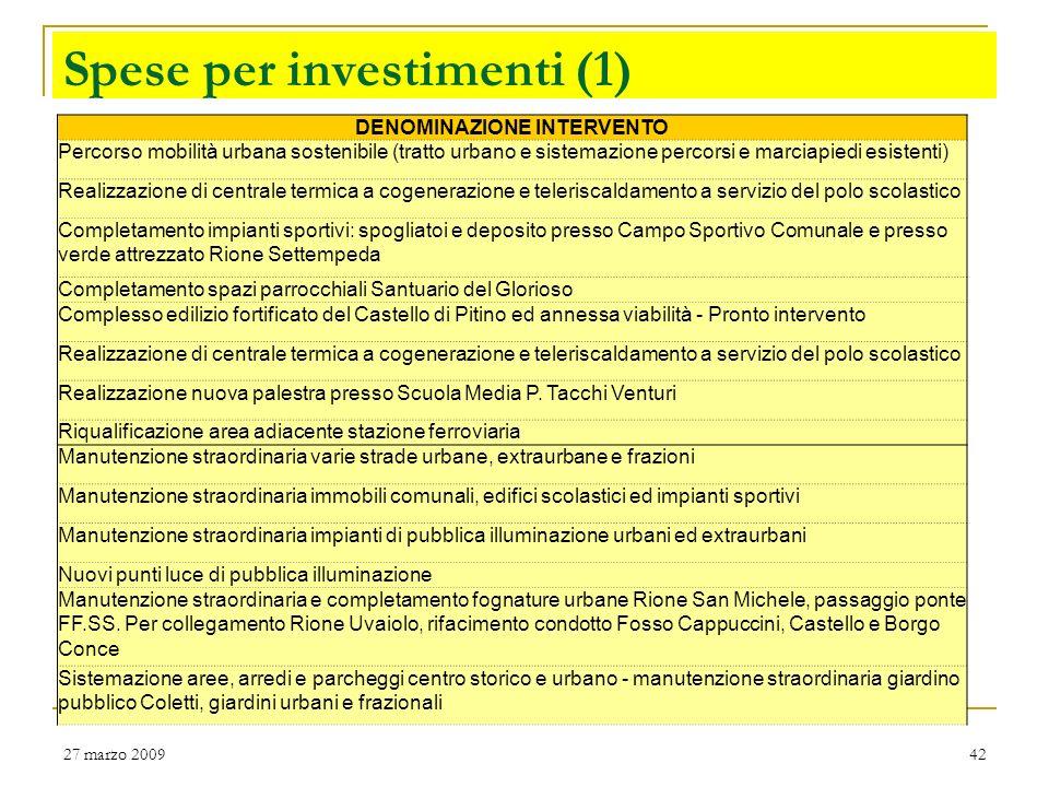 27 marzo 200941 Spese per investimenti