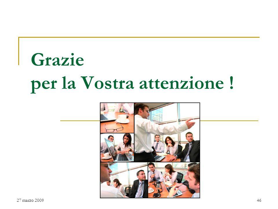 I CITTADINI AL PRIMO POSTO 27 marzo 200945 Amministrazione e Struttura Comunale al servizio dei cittadini