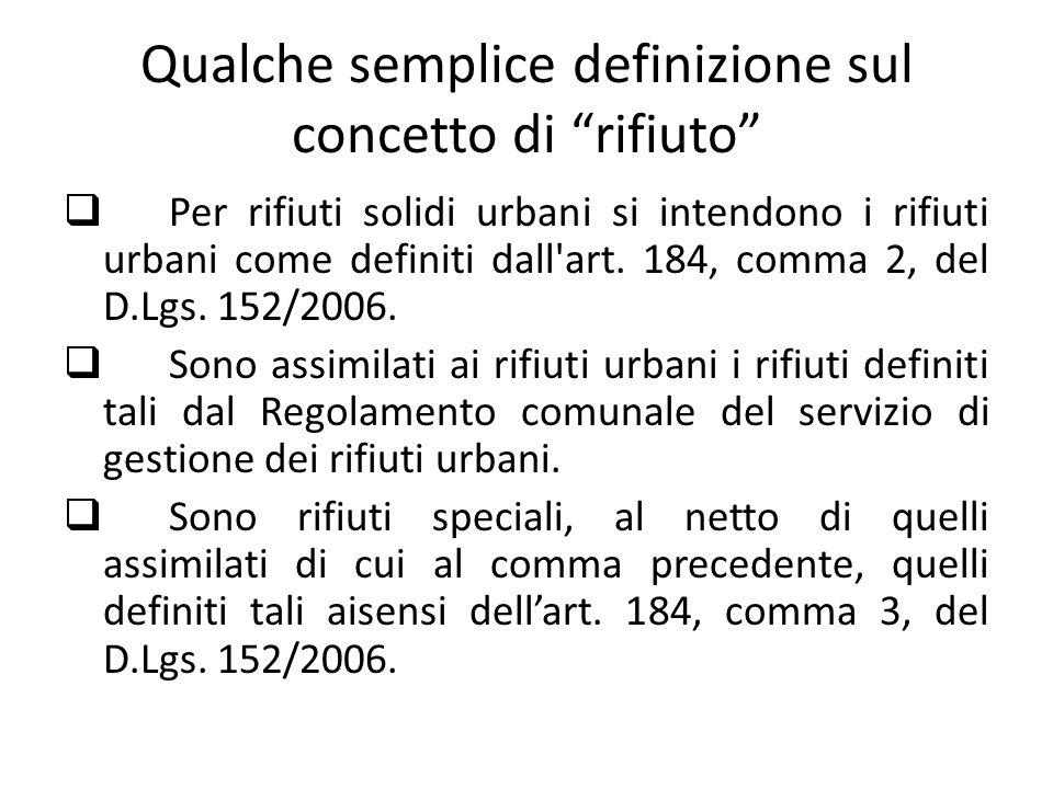 Qualche semplice definizione sul concetto di rifiuto Per rifiuti solidi urbani si intendono i rifiuti urbani come definiti dall'art. 184, comma 2, del