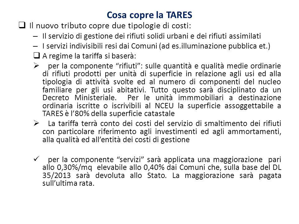 Cosa copre la TARES Il nuovo tributo copre due tipologie di costi: – Il servizio di gestione dei rifiuti solidi urbani e dei rifiuti assimilati – I se