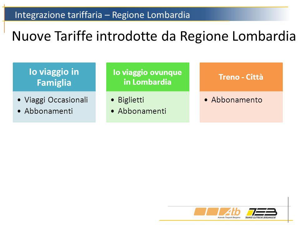 Nuove Tariffe introdotte da Regione Lombardia Integrazione tariffaria – Regione Lombardia Io viaggio in Famiglia Viaggi Occasionali Abbonamenti Io via