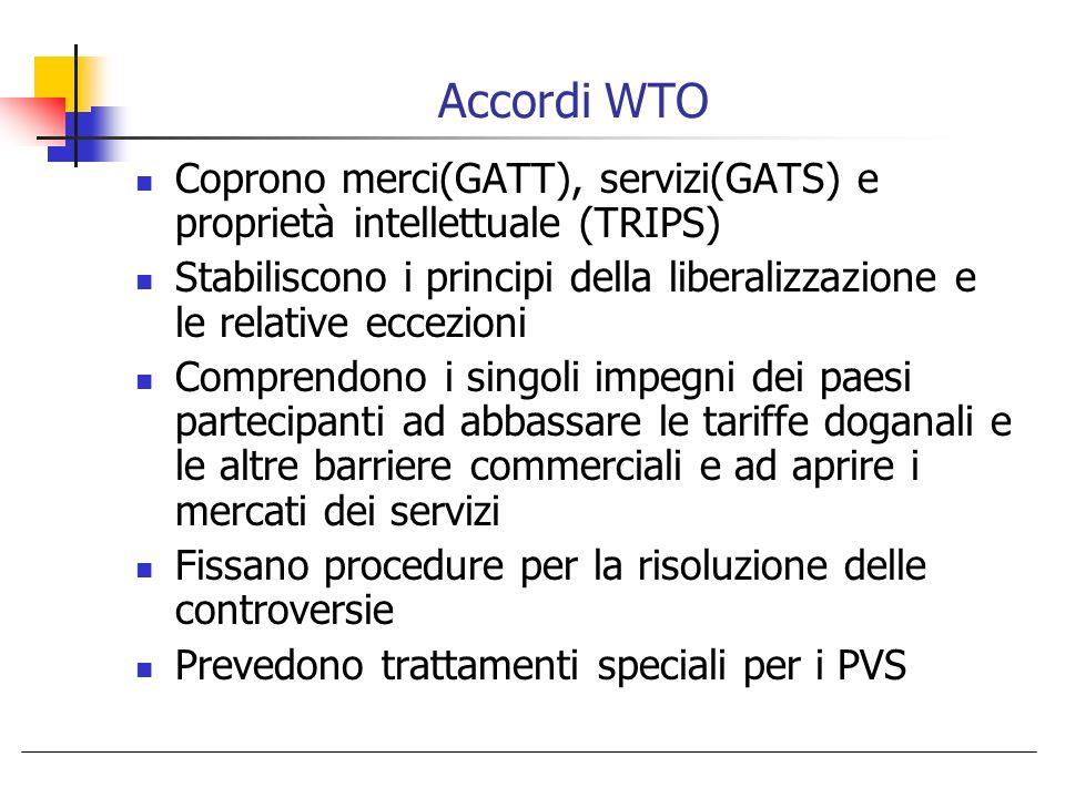 Accordi WTO Coprono merci(GATT), servizi(GATS) e proprietà intellettuale (TRIPS) Stabiliscono i principi della liberalizzazione e le relative eccezion