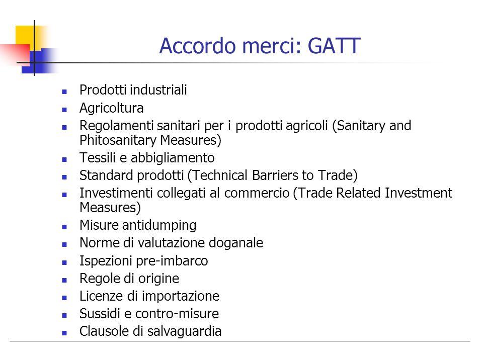 Accordo merci: GATT Prodotti industriali Agricoltura Regolamenti sanitari per i prodotti agricoli (Sanitary and Phitosanitary Measures) Tessili e abbi