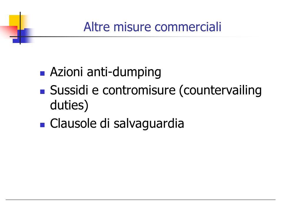 Altre misure commerciali Azioni anti-dumping Sussidi e contromisure (countervailing duties) Clausole di salvaguardia