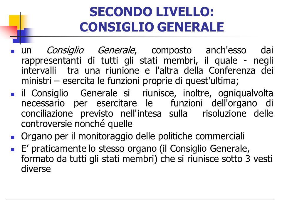 SECONDO LIVELLO: CONSIGLIO GENERALE un Consiglio Generale, composto anch'esso dai rappresentanti di tutti gli stati membri, il quale - negli intervall