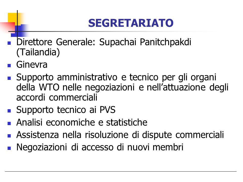 Direttore Generale: Supachai Panitchpakdi (Tailandia) Ginevra Supporto amministrativo e tecnico per gli organi della WTO nelle negoziazioni e nellattu