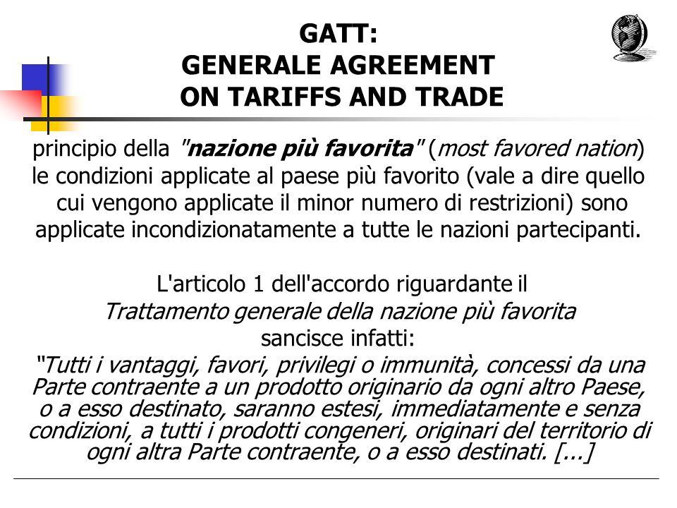 Storia 1948: fallimento della International Trade Organization (I.T.O.) Opposizione USA di ratificare la Carta de lAvana Creazione provvisoria del G.A.T.T.