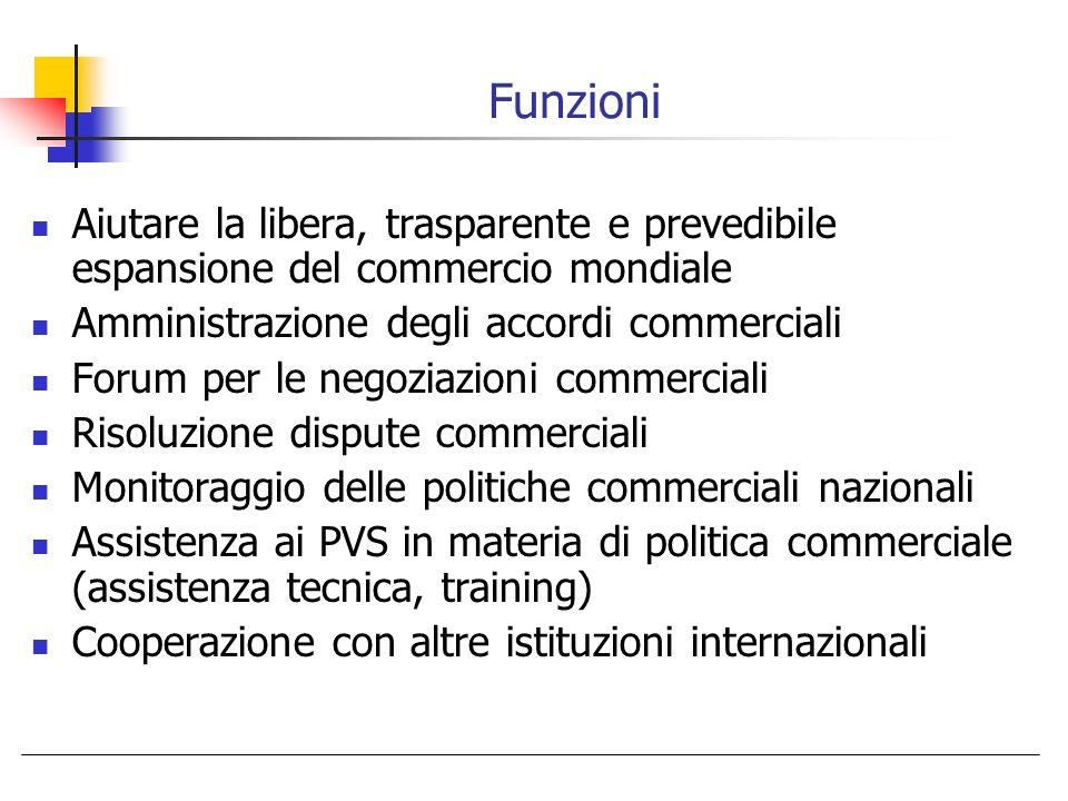 Funzioni Aiutare la libera, trasparente e prevedibile espansione del commercio mondiale Amministrazione degli accordi commerciali Forum per le negozia