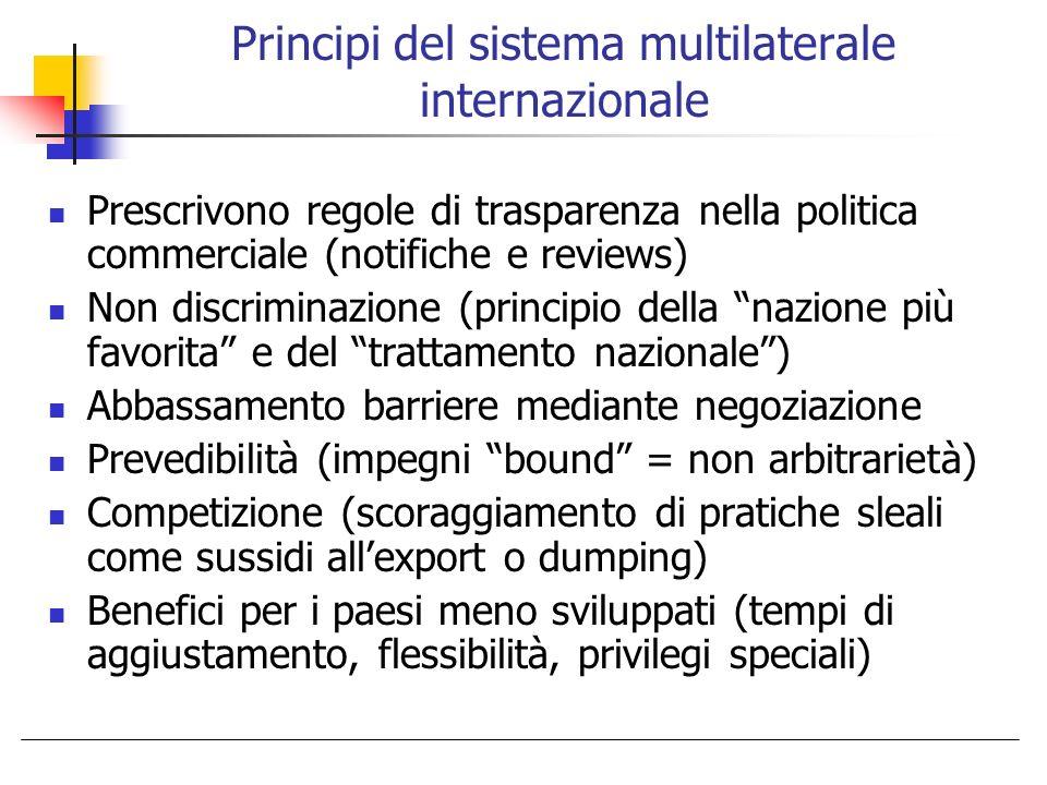 Principi del sistema multilaterale internazionale Prescrivono regole di trasparenza nella politica commerciale (notifiche e reviews) Non discriminazio