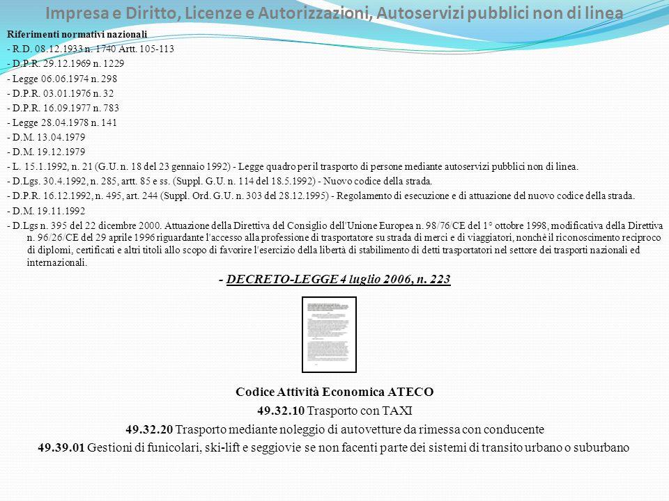 Impresa e Diritto, Licenze e Autorizzazioni, Autoservizi pubblici non di linea Riferimenti normativi nazionali - R.D. 08.12.1933 n. 1740 Artt. 105-113