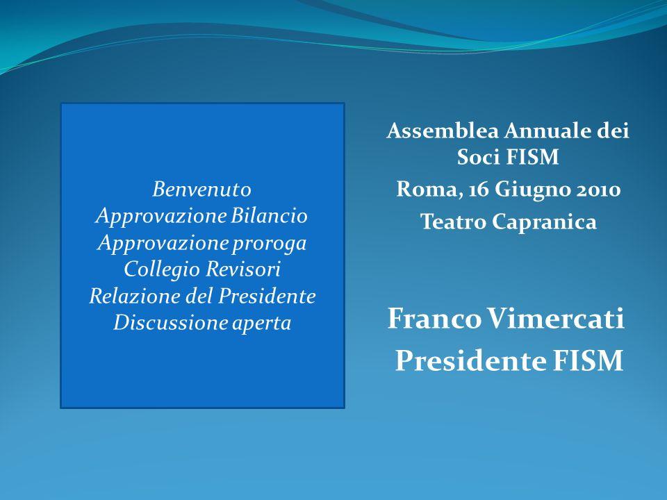 Franco Vimercati Presidente FISM Benvenuto Approvazione Bilancio Approvazione proroga Collegio Revisori Relazione del Presidente Discussione aperta Assemblea Annuale dei Soci FISM Roma, 16 Giugno 2010 Teatro Capranica