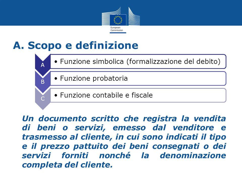 A. Scopo e definizione Un documento scritto che registra la vendita di beni o servizi, emesso dal venditore e trasmesso al cliente, in cui sono indica
