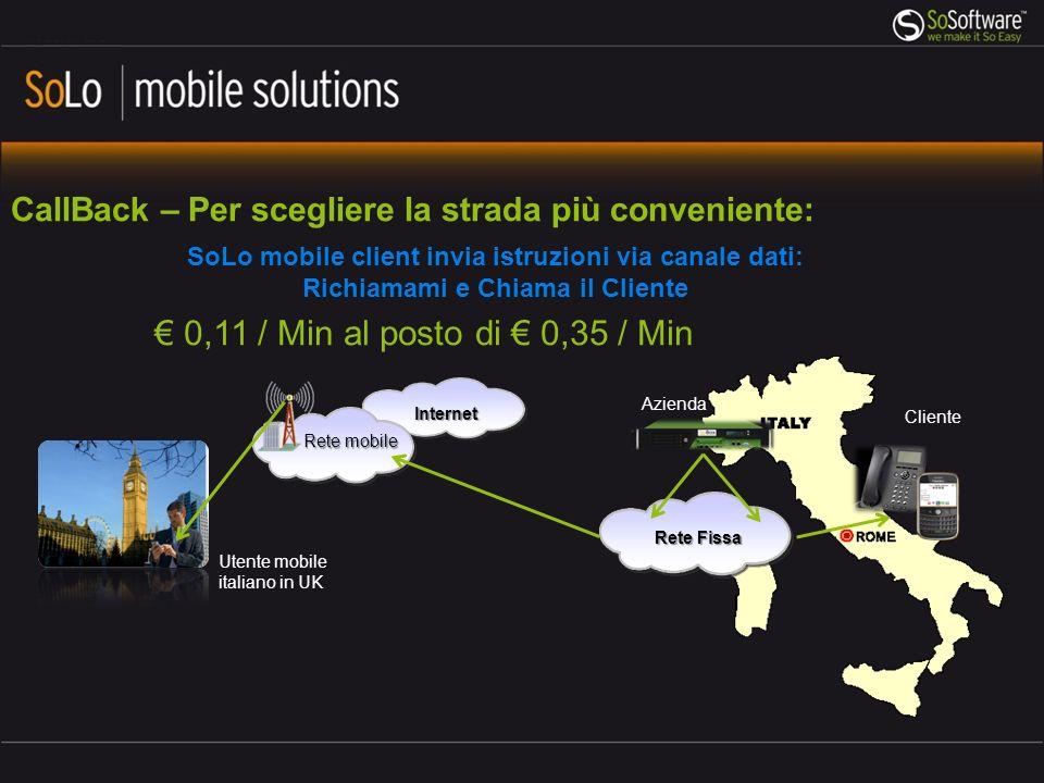 Internet CallBack – Per scegliere la strada più conveniente: Rete Fissa Utente mobile italiano in UK Rete mobile Azienda SoLo mobile client invia istr