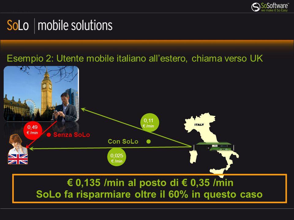 0,025 /min Esempio 2: Utente mobile italiano allestero, chiama verso UK 0,11 /min 0,49 /min Senza SoLo 0,135 /min al posto di 0,35 /min SoLo fa risparmiare oltre il 60% in questo caso Con SoLo
