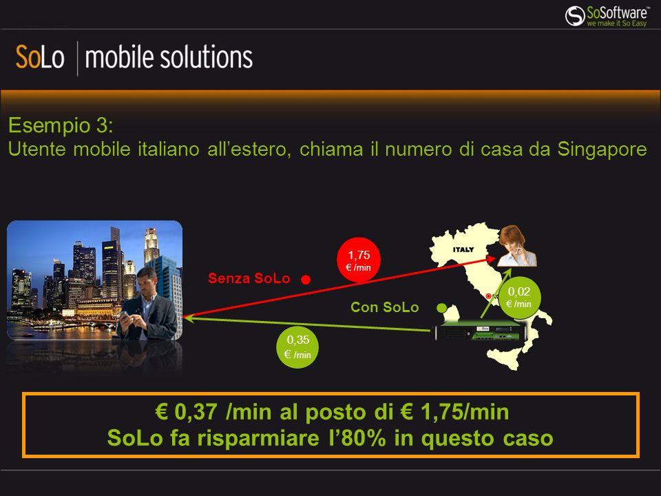 1,75 /min Con SoLo 0,35 /min Esempio 3: Utente mobile italiano allestero, chiama il numero di casa da Singapore 0,02 /min Senza SoLo 0,37 /min al posto di 1,75/min SoLo fa risparmiare l80% in questo caso
