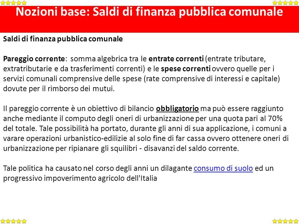 Nozioni base: Saldi di finanza pubblica comunale Saldi di finanza pubblica comunale Pareggio corrente: somma algebrica tra le entrate correnti (entrat