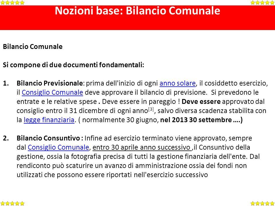 Nozioni base: Bilancio Comunale Bilancio Comunale Si compone di due documenti fondamentali: 1.Bilancio Previsionale: prima dell'inizio di ogni anno so