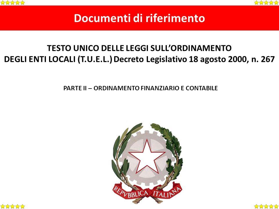 Documenti di riferimento TESTO UNICO DELLE LEGGI SULLORDINAMENTO DEGLI ENTI LOCALI (T.U.E.L.) Decreto Legislativo 18 agosto 2000, n.