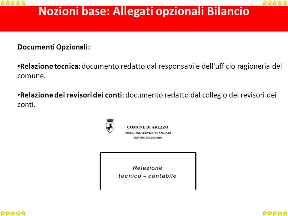 Nozioni base: Allegati opzionali Bilancio Documenti Opzionali: Relazione tecnica: documento redatto dal responsabile dell ufficio ragioneria del comune.