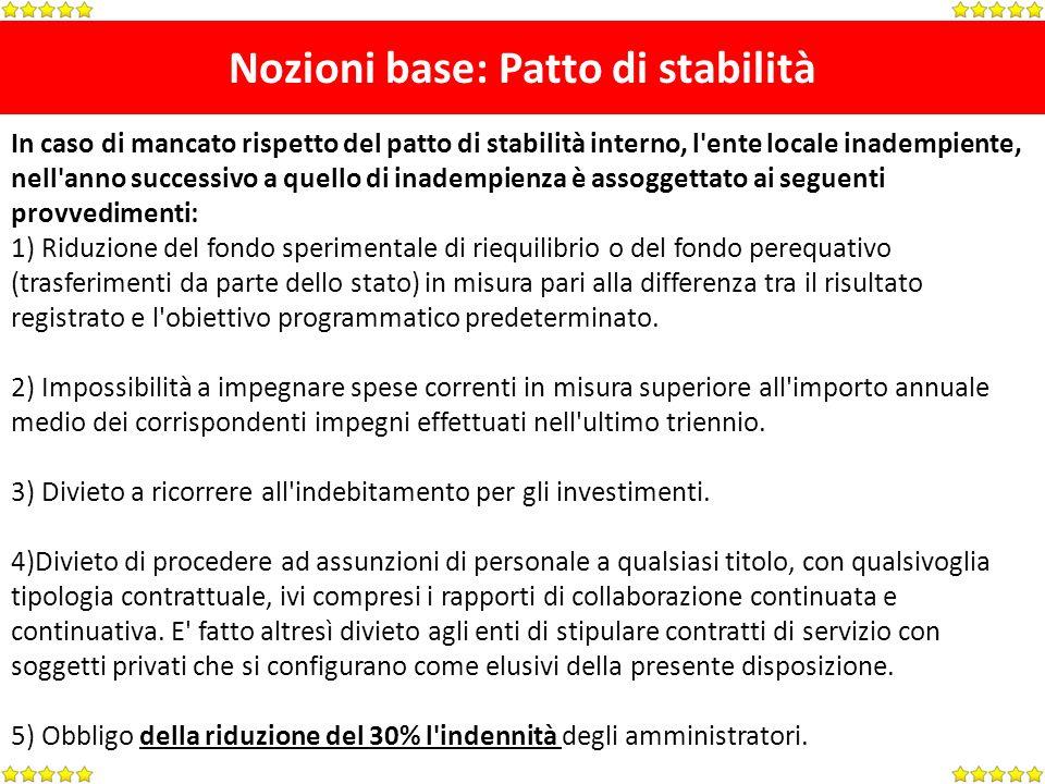 Nozioni base: Patto di stabilità In caso di mancato rispetto del patto di stabilità interno, l'ente locale inadempiente, nell'anno successivo a quello