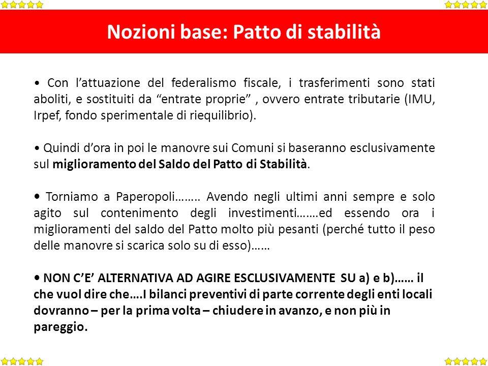 Nozioni base: Patto di stabilità Con lattuazione del federalismo fiscale, i trasferimenti sono stati aboliti, e sostituiti da entrate proprie, ovvero entrate tributarie (IMU, Irpef, fondo sperimentale di riequilibrio).